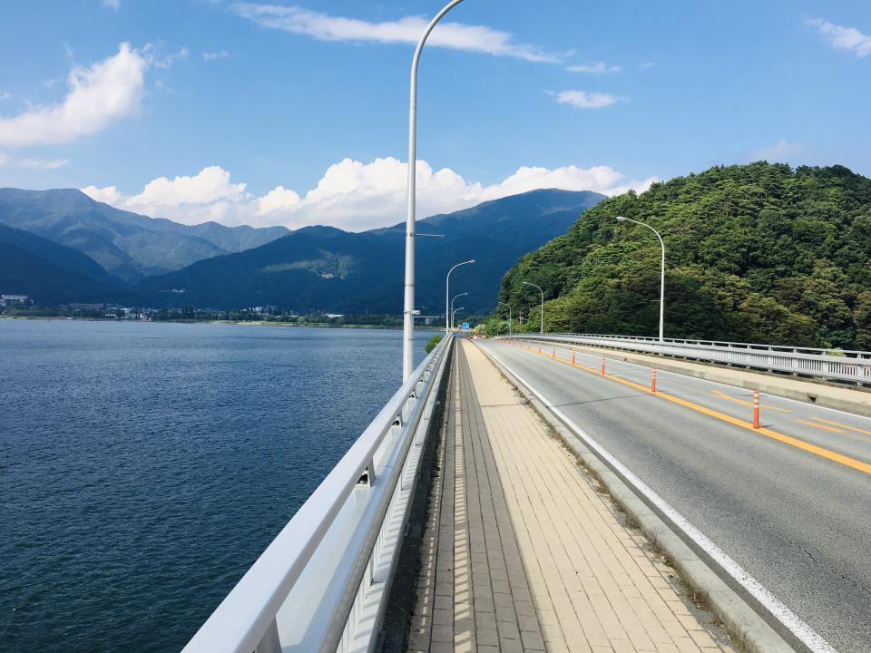 河口湖大橋からの景色